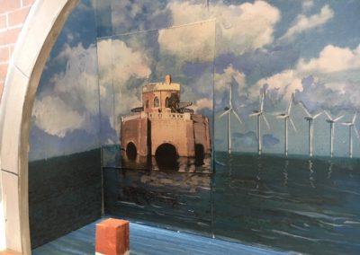Wandschildering bij Buro Boot
